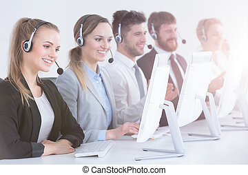 Call center agents in a row