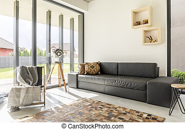 Light living room with sophisticated furnitures and enormous...