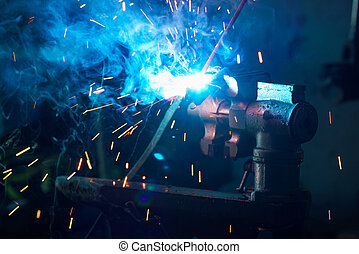 Welding process for metal close up - Welding process for...
