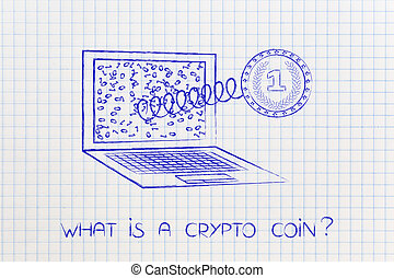 crypto coin with electronic circuits coming out of a laptop screen