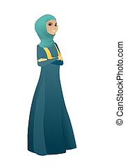 Muslim confident business woman with folded arms.
