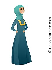 Young muslim business woman laughing. Business woman...