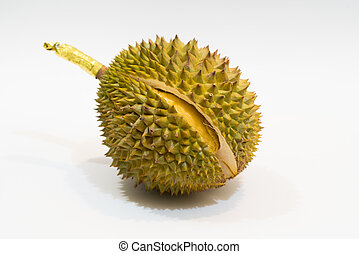 Fresh Cut Durian on white background, a close-up view of...