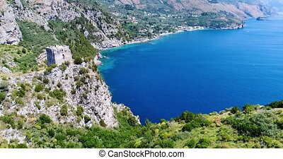 mountains panorama of amalfi coast in Italy - mountains...