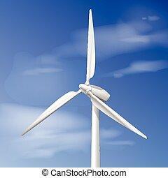 Single wind turbine - Vector illustration with wind turbine...