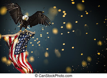 Bald Eagle with American flag - North American Bald Eagle...