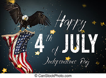 American feast 4th of July. Bald Eagle with American flag
