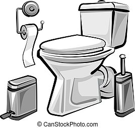 restroom wc with toilet - illustration of restroom wc with...