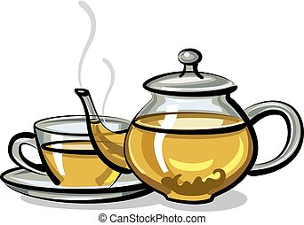 hot green tea - illustration of hot green tea in pot and cup