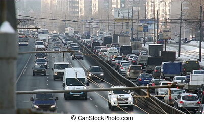 Many cars on road in winter Russia - Moscow winter highway...
