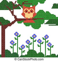 Cross Stitch Embroidery design for seamless pattern texture