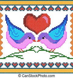 Cross Stitch Embroidery love bird design for seamless pattern texture