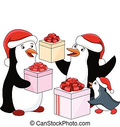 Penguin's family with gifts. Vector illustration