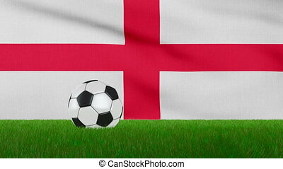 Ball on the England flag - Ball on the grass on the...