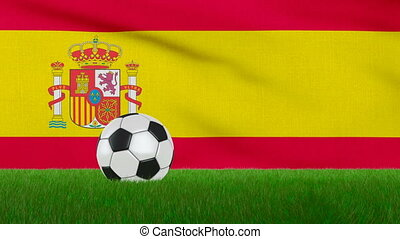 Ball on the Spain flag - Ball on the grass on the background...