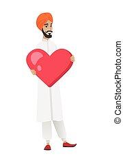 Hindu businessman holding a big red heart.
