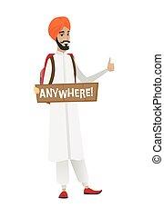 Young hindu traveler hitchhiking. - Traveler hitchhiking...