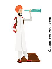 Young hindu traveler with spyglass. - Smiling hindu traveler...