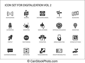 Digitalization icon vector set for topics like big data,...