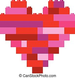 Isolated heart in building block toys - Vector illustration...