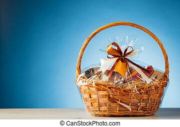 gift basket on blue background