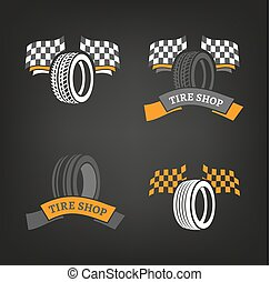 Tire Shop Logo - Car tire icons set in dark grey, white and...