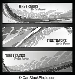 Tire track banners - Vector automotive banners template....
