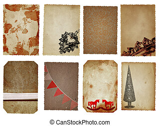 Christmas cards - Christmas decoration cards in brown, red...