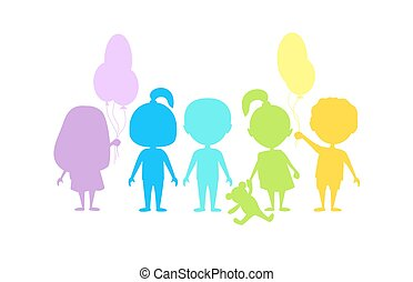 Colored children silhouettes.
