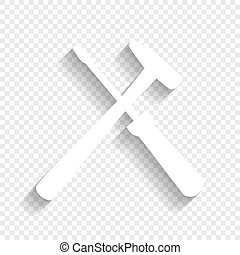 Tools sign illustration. Vector. White icon with soft shadow...