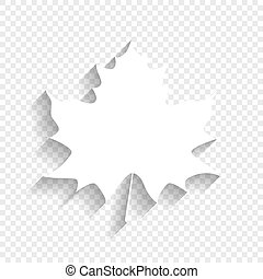 Maple leaf sign. Vector. White icon with soft shadow on transparent background.