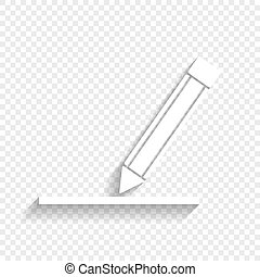 Pencil sign illustration. Vector. White icon with soft...