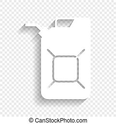 Jerrycan oil sign. Jerry can oil sign. Vector. White icon...