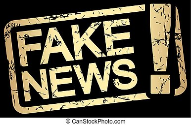gold stamp with text Fake News