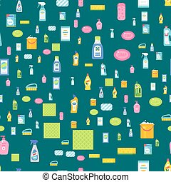 Cleanser bottle chemical housework product seamless pattern...