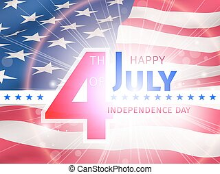 Independence day background, 4th of July. Logo on top of American flag