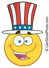 Happy Patriotic Yellow Cartoon Emoji Face Character Wearing A USA Hat