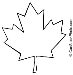 Outlined Canadian Maple Leaf Line Cartoon Drawing
