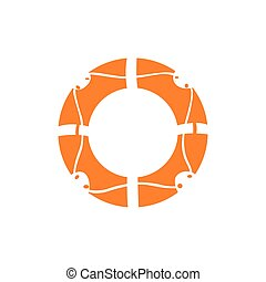 Isolated lifesaver silhouette on a white background, Vector...