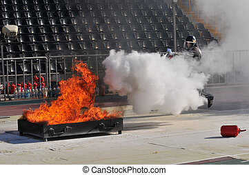demonstration performance of firefighters at the stadium...