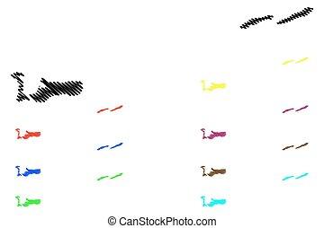 Cayman Islands map vector illustration, scribble sketch...