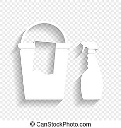 Bucket and a rag with Household chemical bottles. Vector. White icon with soft shadow on transparent background.