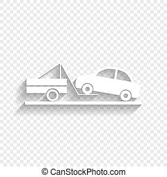 Tow truck sign. Vector. White icon with soft shadow on transparent background.