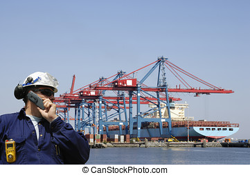 dock-worker and container port - worker, engineer with large...