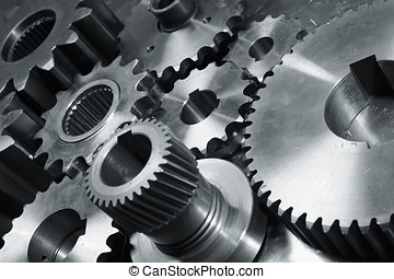 machinery of gears - gear machinery in bluish toning