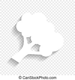 Broccoli branch sign. Vector. White icon with soft shadow on...