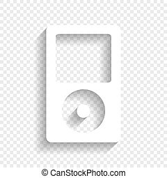 Portable music device. Vector. White icon with soft shadow...