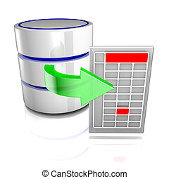 Export data from a database - Icon symbolizing a database...