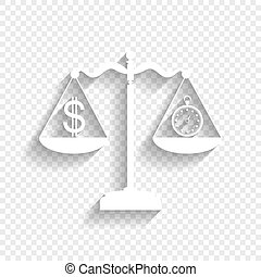 Stopwatch and dollar symbol on scales. Vector. White icon with soft shadow on transparent background.