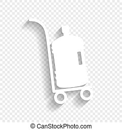 Plastic bottle silhouette with water. Big bottle of water on track. Vector. White icon with soft shadow on transparent background.
